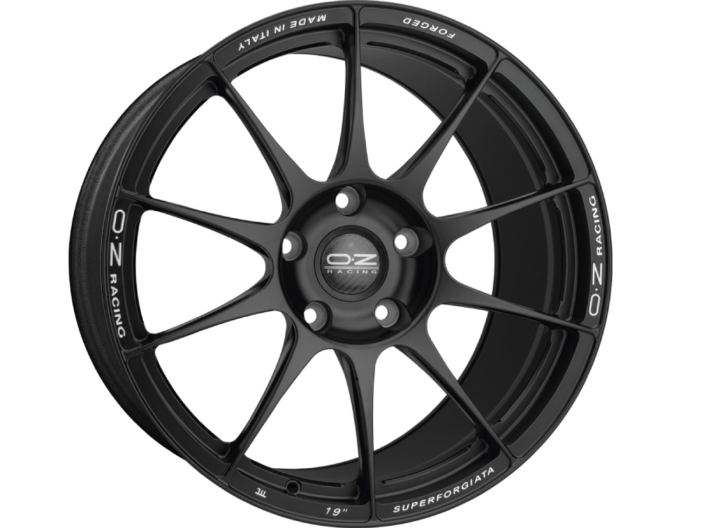 OZ RACING Superforgiata MB hliníkové disky 8,5x19 5x130 ET53 MATT BLACK CON SCRITTE DI FRESATURA