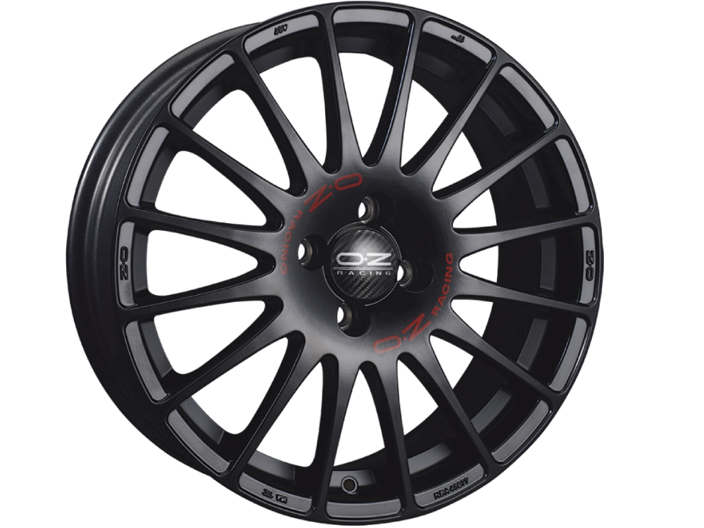OZ RACING Superturismo MB hliníkové disky 8x18 5x100 ET35 MATT BLACK RED LETTERING